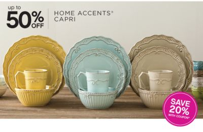 Up to 50% off   Home Accents® Capri   Save 20% with coupon*