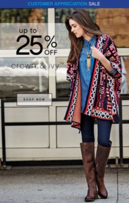 Customer Appreciation Sale 25% Off Crown and Ivy