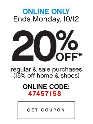 Online Only 20% Off Coupon