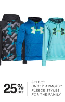 25% OFF SELECT UNDER ARMOUR® FLEECE STYLES FOR THE FAMILY