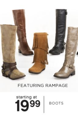 FEATURING RAMPAGE | starting at 19.99 | BOOTS