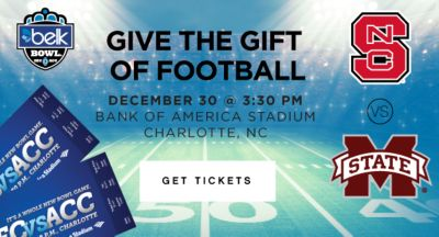 GIVE THE GIFT OF FOOTBALL | DECEMBER 30 @ 3:30 PM BANK OF AMERICA STADIUM CHARLOTTE, NC | GET TICKETS