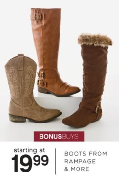 BONUSBUYS | starting at 19.99 | BOOTS FROM RAMPAGE & MORE