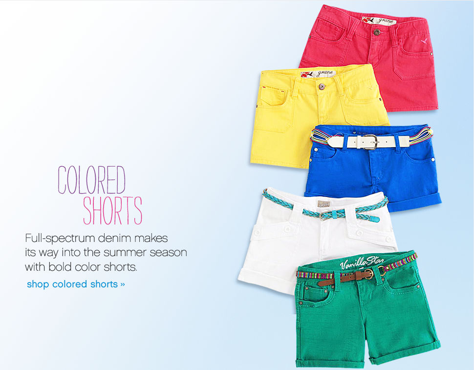 Colored Shorts Full-spectrum denim makes its was into summer season with bold color shorts. shop colored shorts.