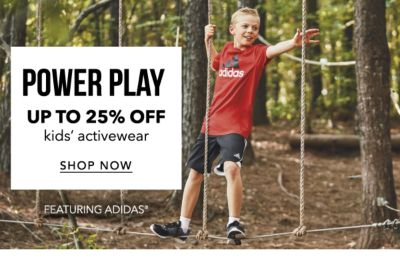 Up to 25% off kids' activewear, featuring adidas - shop now