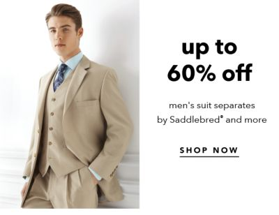 Up to 60% off men's suit separates by Saddlebred® and more. Shop Now.