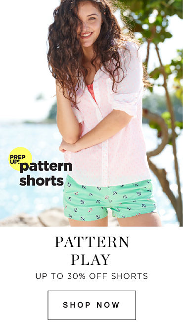 All aboard | Prep up! pattern shorts | Up to 30% off shorts | shop now