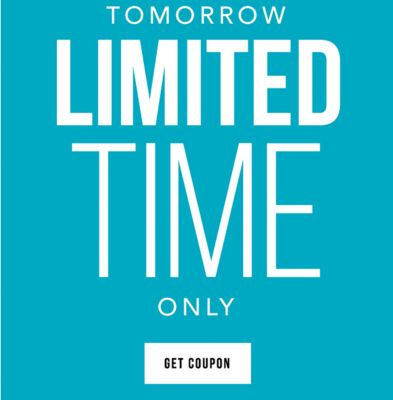 10AM-PM ET Monday, 2/20. Tomorrow, Limited Time Only - $10 off regular and sale purchase of $25 or more {Store Code: 24117199, Online Code: 26557287} or $30 off*