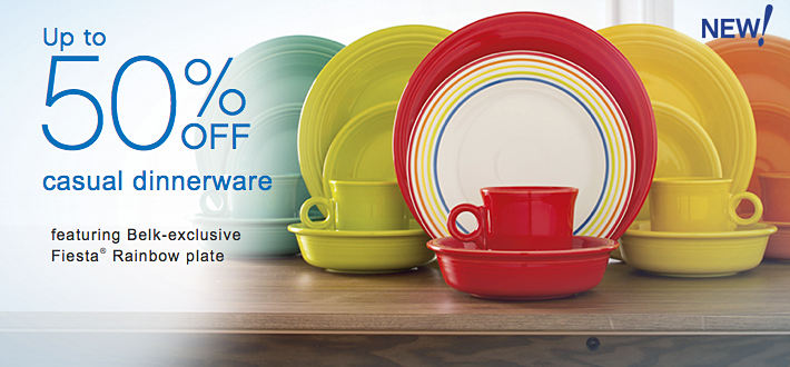 Up to %50 off casual dinnerware, featuring new exclusive Fiesta® Rainbow Plate