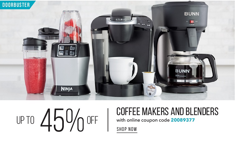 DoorBuster Up To 45% Off Coffee Makers And Blenders With Online Code 20089377 | shop now