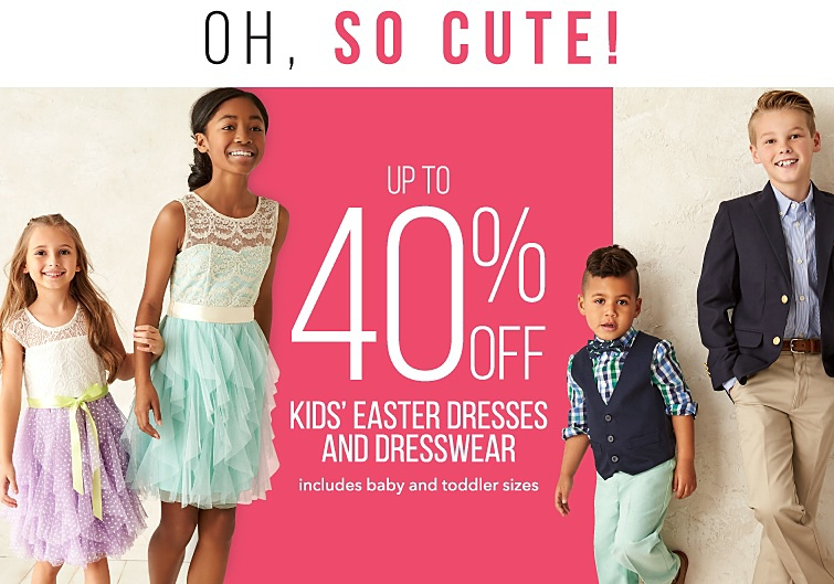 Oh, so Cute! Up to 40 percent off Kids' Easter Dresses and Dresswear. Includes baby and toddler sizes.