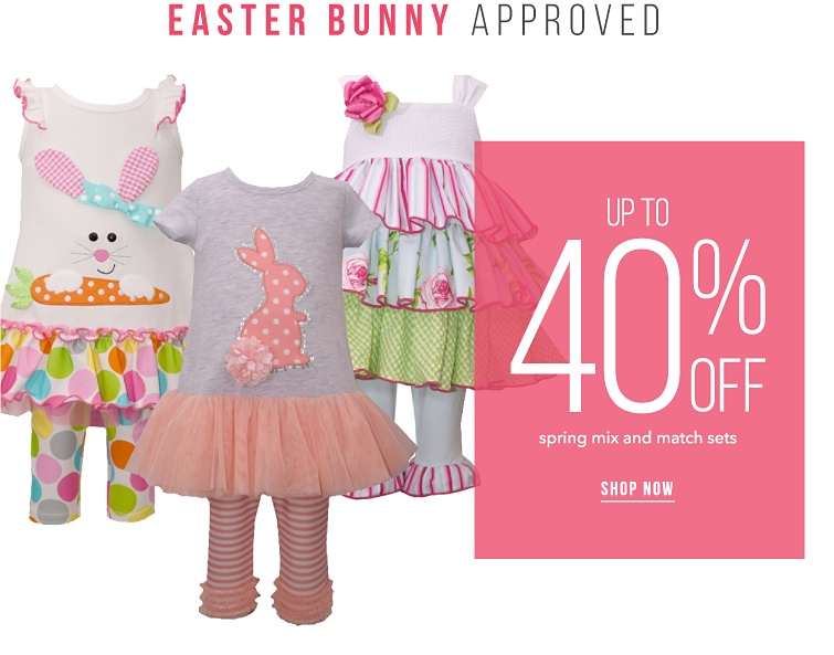 Easter Bunny Approved. Up to 40 percent off Spring mix and match sets. Shop Now.