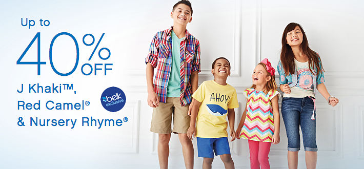Up to 40% Off J Khaki™, Red Camel®, & Nursery Rhyme®