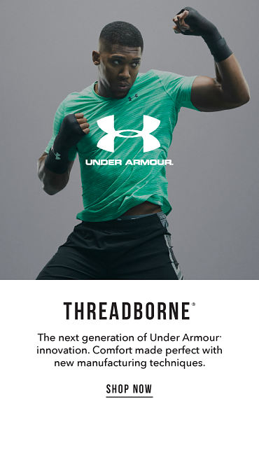 Threadborne registered trademark. The next generation of Under-Armour registered trademark innovation. Comfort made perfect with new manufacturing techniques. Shop now
