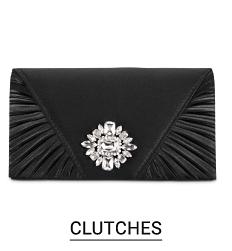 A black clutch with a gemstone accent. Shop clutches.