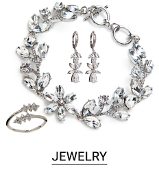 A set of earrings, a necklace and a bracelet. Shop jewelry.