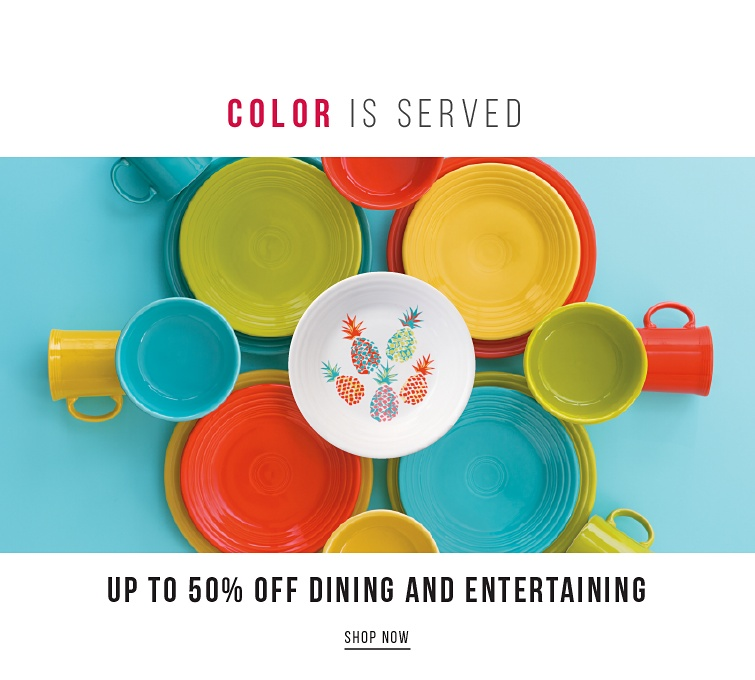 Color Is Served Up To 50Percent Off Dining And Entertaining | shop now