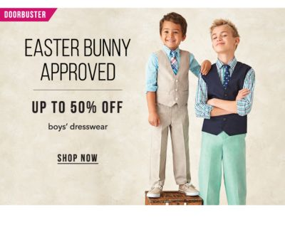 Doorbuster - Easter Bunny Approved | up to 50% off boys' dresswear. Shop Now.