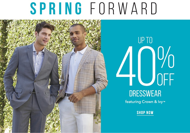 Spring forward. Up to 40% off dresswear featuring Crown and Ivy trademark. Shop now