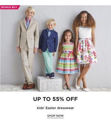 BONUS BUY - Up to 55% off kids' Easter dresswear. Shop Now.