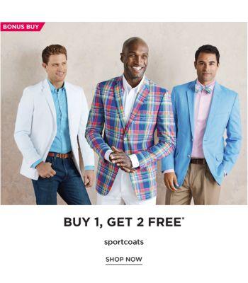 BONUS BUY - Buy 1, Get 2 Free* sportcoats. Shop Now.