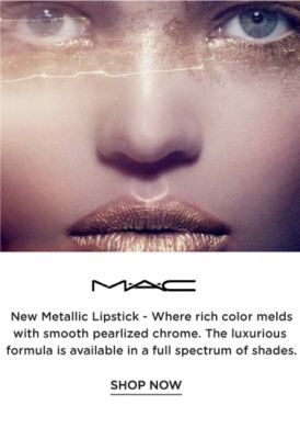 MAC - New Metallic Lipstick - Where rich color melds with smooth pearlized chrome. The luxurious formula is available in a full spectrum of shades. Shop now.