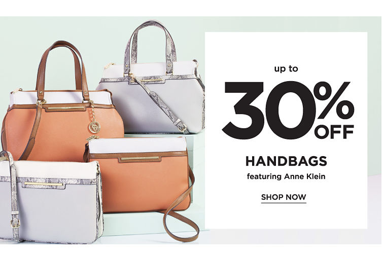 Up to 30% off handbags featuring Anne Klein. Shop now
