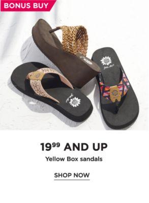 BonusBuy 19.99 Yellow Box Sandals | shop now