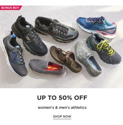 BONUS BUY - Up to 50% off women's & men's athletics. Shop Now.