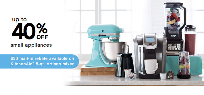 Up to 40% off small appliances $30 mail-in rebate available on KitchenAid® 5-qt Artisan mixer