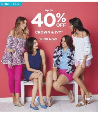 Bonus Buy - Up to 40% off Crown & Ivy. Shop now.