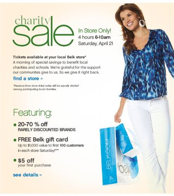 Charity Sale - In Store Only! Saturday, April 21