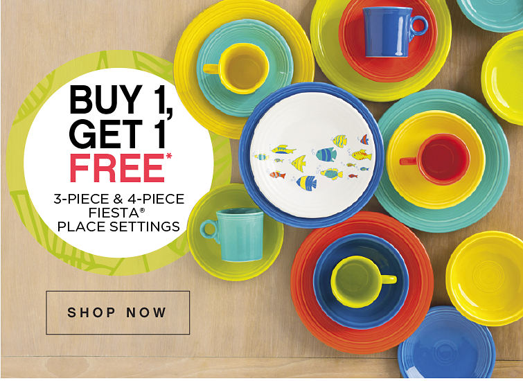 Buy 1 get 1 free* 3-piece & 4-piece fiesta place settings