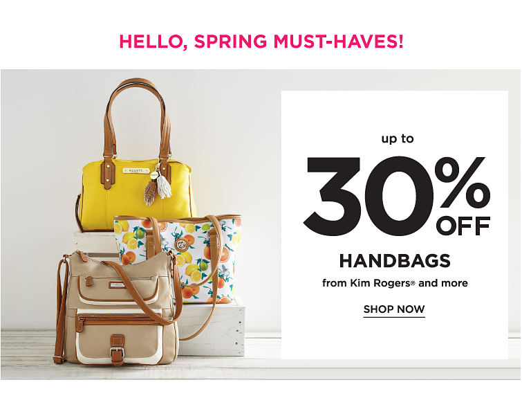 Hello Spring Must-Haves! Up To 30% Off handbags From Kim Rogers And More | Shop now