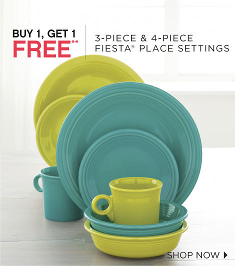 BUY 1, GET 1 FREE** | 3-PIECE & 4-PIECE FIESTA® PLACE SETTINGS | SHOP NOW