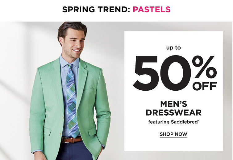 Spring trend: pastels. Up to 50% off men's dresswear featuring Saddlebred. Shop now
