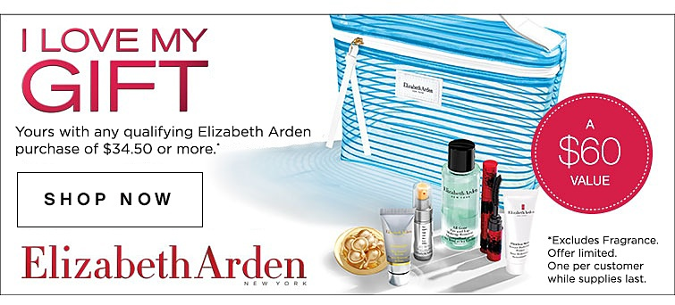 Elizabeth Arden New York | I love my gift | Yours with any qualifying Elizabeth Arden purchase of $34.50 or more. A $60 value. Excludes fragrance. Offer limited. One per customer while supplies last. | Shop Now