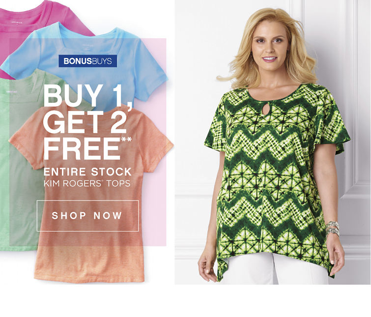 BonusBuys | Buy 1, Get 2 Free** Entire Stock Kim Rogers® Tops - Shop Now