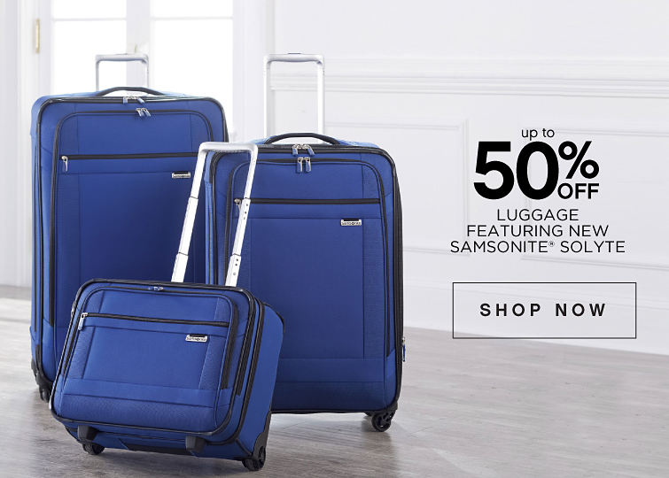 up to 50% off Luggage Featuring New Samsonite Solyte - shop now