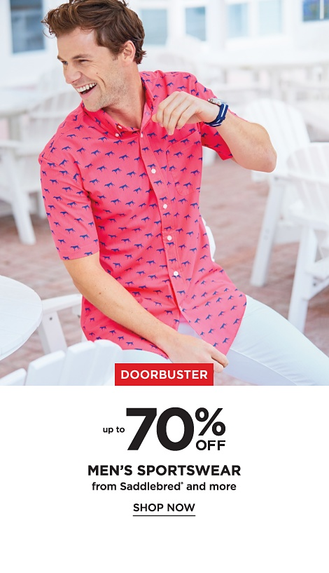 Doorbuster! Up to 70% off Men's Sportswear from Saddlebred and more - Shop Now