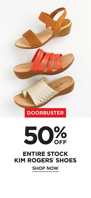 Doorbuster! 50% off Entire Stock Kim Roger's Shoes - Shop Now