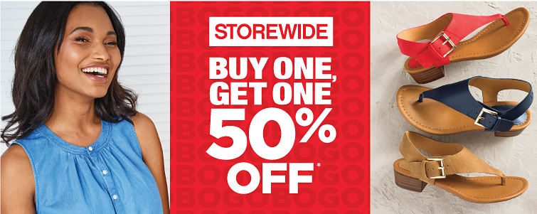 Storewide Buy One, Bet One 50% off. Second item must be of equal or lesser value. Exclusions apply.