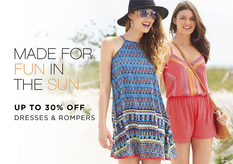 Made for fun in the sun | Up to 30% off dresses & rompers
