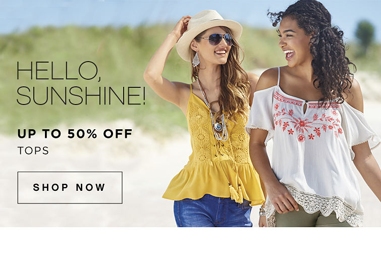 Hello, sunshine! | Up to 50% off tops | Shop now