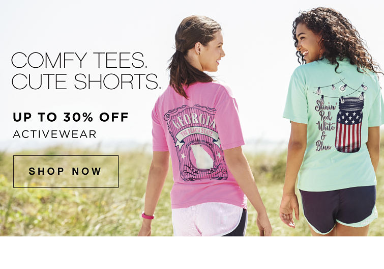 Comfy tees, cute shorts. | Up to 30% off activewear | shop now