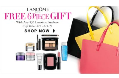Lancôme Paris - Free 6-piece Gift with any $35 Lancôme purchase (Gift Value: $75-$111) | SHOP NOW | *Value will vary based on client's selection of products. Offer good while supplies last. One gift per client.