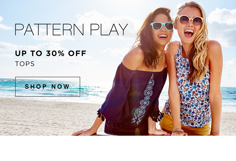 Pattern play | Up to 30% off tops | shop now