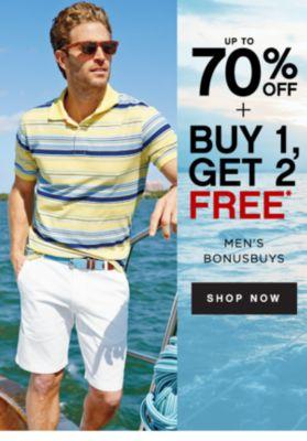 up to 70% OFF + BUY 1, GET 2 FREE* | MEN'S BONUSBUYS | SHOP NOW