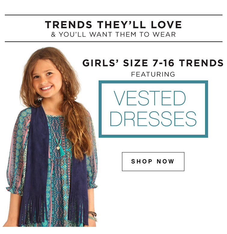 Trends they'll love & you'll want them to wear | Girls' trends 7-16 trends featuring vested dresses | shop now