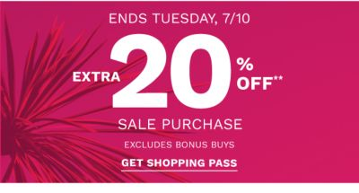 Extra 20% off** Sale Purchase excludes Bonus Buys - Shop Now